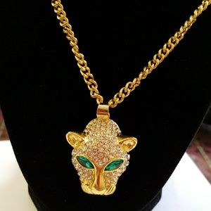 Other - AAAAA CZ Green Eye Leopard Head Necklace for Men